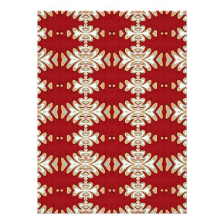 Red Cream Native American Style Pattern Personalized Invitations