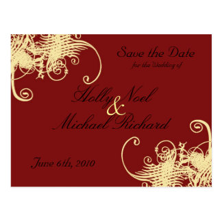 red,cream,wedding,savethedate,fancy,classy,chic post card