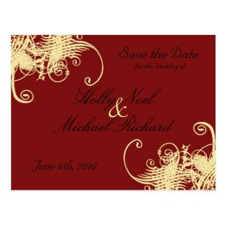 red cream wedding savethedate fancy classy chic post card