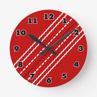 Red cricket ball sports clock for club or home