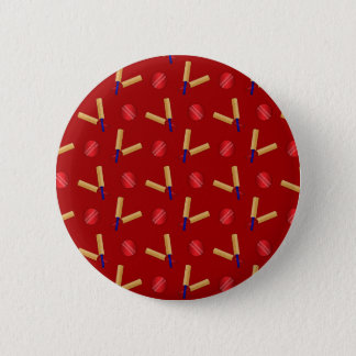 Red cricket pattern 6 cm round badge