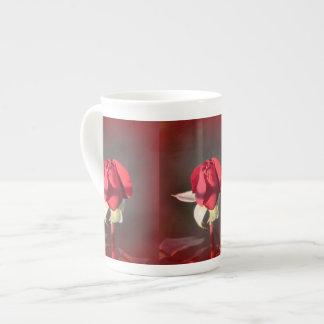 Red Crimson Bouquet Rosebud Bone China Mug
