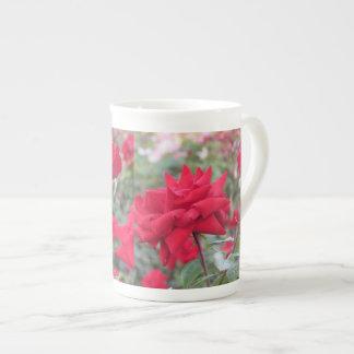 Red Crimson Bouquet Roses Porcelain Mug
