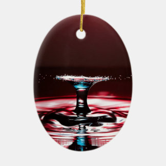 Red Crimson Water Droplet Splash Ceramic Oval Decoration