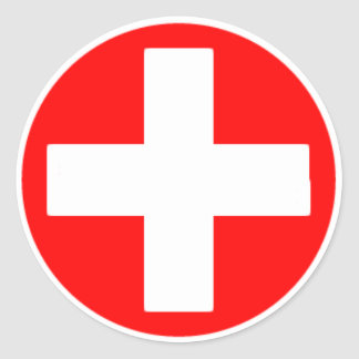 red cross classic round sticker