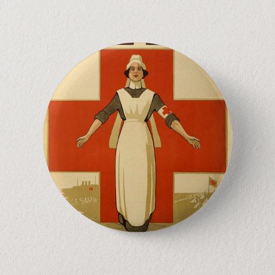 Red Cross Field Nurse Poster Reading HELP 6 Cm Round Badge