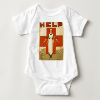 Red Cross Field Nurse Poster Reading HELP Baby Bodysuit
