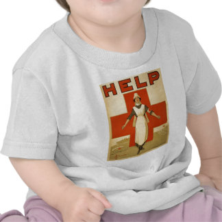 Red Cross Field Nurse Poster Reading HELP Tshirts