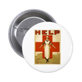 Red Cross Nurse Help Advertisement World War 2 6 Cm Round Badge