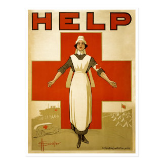 Red Cross Nurse Help Advertisement World War 2 Postcard