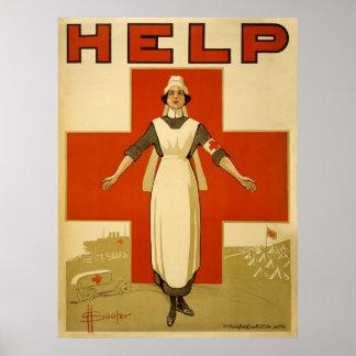 Red Cross Nurse Help Advertisement World War 2 Poster