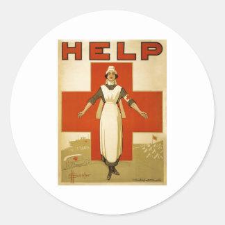 Red Cross Nurse Help Advertisement World War 2 Round Sticker