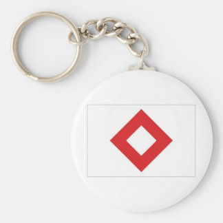 Red Cross Red Crystal Flag Basic Round Button Key Ring