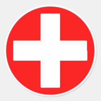 red cross round sticker