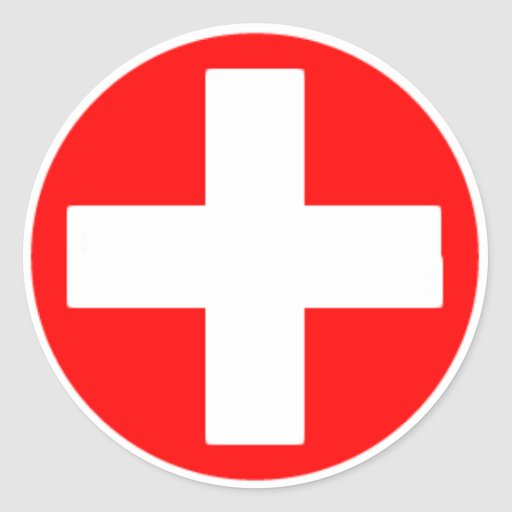 red cross round stickers