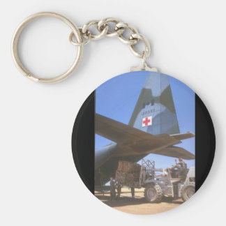 Red Cross supplies being_Military Aircraft Basic Round Button Key Ring