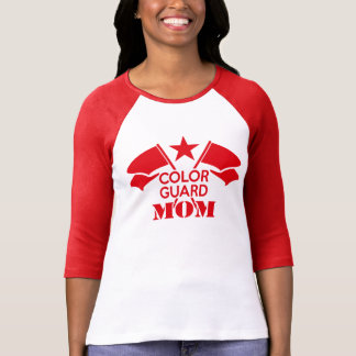 Red Crossed Flags Color Guard Mom T-shirt