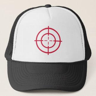Red crosshairs trucker hat
