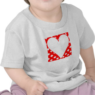 Red Crosshatch Background Heart Tshirts