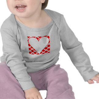 Red Crosshatch Background Heart Shirts