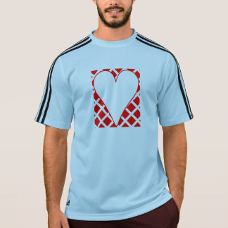 Red Crosshatch Background Heart T-shirt