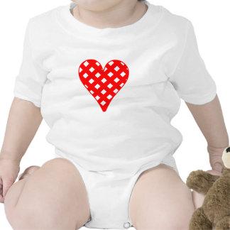 Red Crosshatch Heart Baby Bodysuit