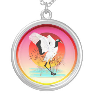Red Crowned Crane and Setting Sun Necklace