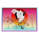 Red Crowned Crane and Setting Sun Posters
