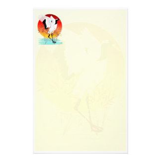 Red Crowned Crane and Setting Sun  Stationery