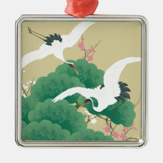 red-crowned crane Silver-Colored square decoration