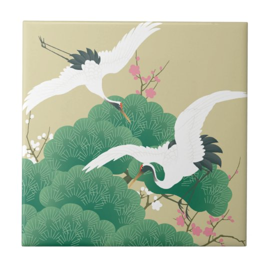 red-crowned crane small square tile