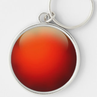 Red Crystal Ball Silver-Colored Round Key Ring