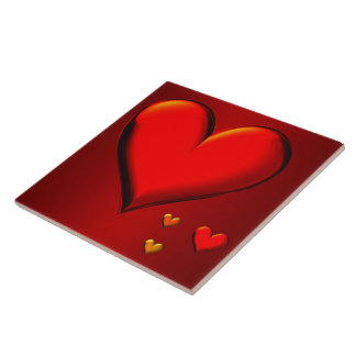 Red Crystal Hearts Tile