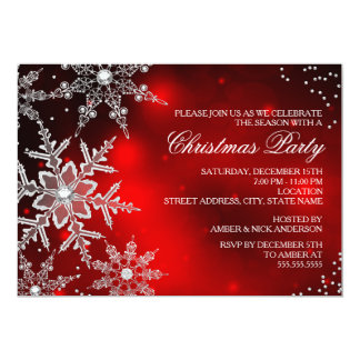 Red Crystal Snowflake Christmas Dinner Party Card