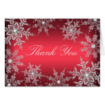 Red Crystal Snowflake Christmas Thank You Card