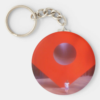 Red Cube Curious Child Basic Round Button Key Ring