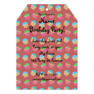 Red cupcake pattern 13 cm x 18 cm invitation card