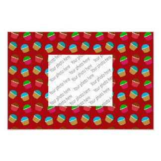 Red cupcake pattern photo print