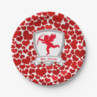 Red Cupid and Hearts Your Text Paper Plate