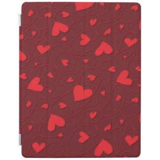 Red curly hearts iPad cover