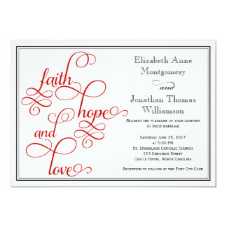 Red Curly Script Faith Hope and Love Wedding Card