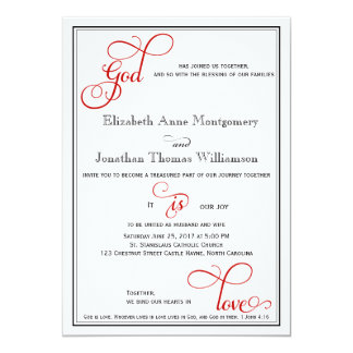 Red Curly Script God is Love Christian Wedding Card