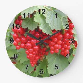 Red Currants on the Plant. Green Leaves. Large Clock