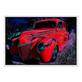 Red Custom Car - Hot Rod XL Poster