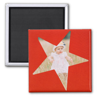 Red Custom Instagram Photo | Create Your Own Star Square Magnet