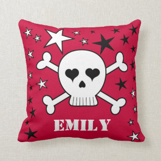 Red Customizable Cute Skull Crossbone and Stars Cushion
