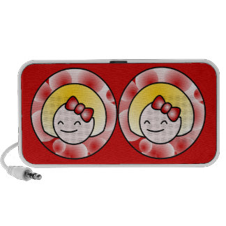Red Cute Blond Girl Portable Speaker