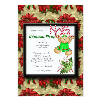 RED CUTE Christmas Party Noel Holiday 13 Cm X 18 Cm Invitation Card