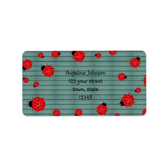 Red Cute Ladybugs Address Label