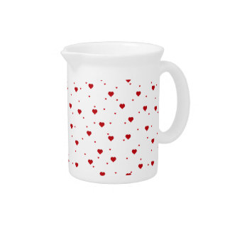 Red Cute Valentines Hearts Drink Pitcher